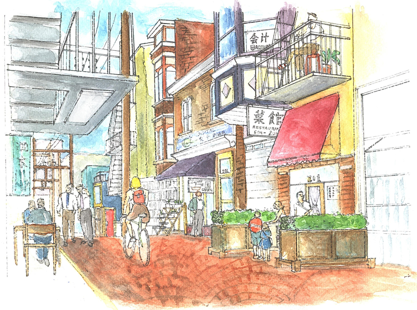 A conceptual rendering of how Vancouver's Chinatown laneways could look after restoration and revitalization. Courtesy AFH Vancouver